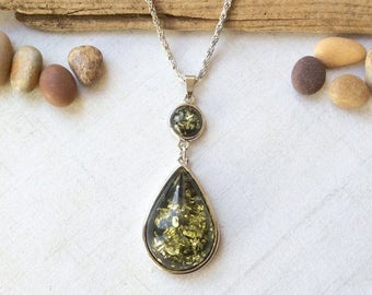 Green Amber Tear Drop Pendant Necklace, Boho Silver Chain Naecklace