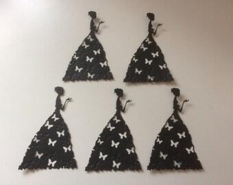 5 x lady in butterfly dress Die Cuts