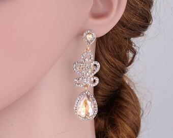 Champagne Chandelier Crystal Bridal Earrings