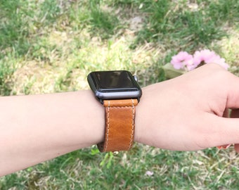 Handcrafted Leather Watch Strap - Saddle Tan - Full Grain Vegetable Tanned Leather Watch Strap - 3mm thick - White Stitches