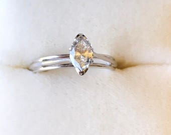 Vintage 14kt white gold with a .35 carat Marquis diamond