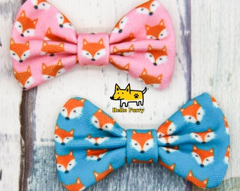 Fox Face / Bow Tie / Pink  / Blue / Nerd /Bow Tie /Dog/ Cat/ Bowtie /Canvas /Handmade
