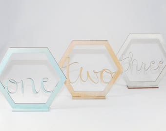 Laser Cut Geometric Table Number // Wedding Table Number