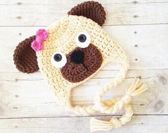 Crochet Puppy Dog Pug Beanie Hat Newborn Infant Toddler Child Adult Handmade Photography Photo Prop Animal Hat Baby Shower Gift