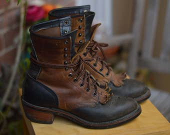 Western Prairie Lace Up Leather Boho Riding Nitrene Sole  8 Boots