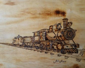 Drawing of Steam Locomotive (Pyrography)