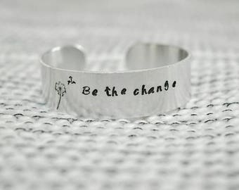 Personalized hand-stamped cuff bracelet