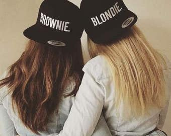 Blondie Brownie Snapback Caps Pair Fashion Hip-Hop Caps Hats Tumblr Fashion Snapbacks