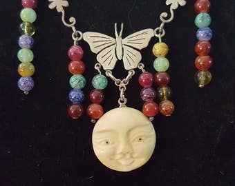 The Fool - Tarot Inspired Beaded Necklace with Sterling Silver and Bone Bead