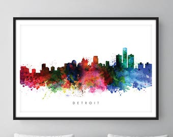 Detroit Skyline, Detroit Michigan Cityscape Art Print, Wall Art, Watercolor, Watercolour Art Decor
