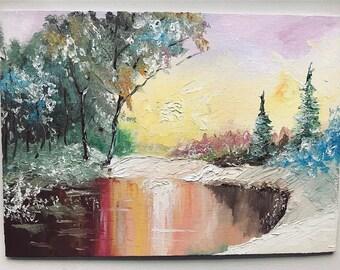Oil painting winter zakad