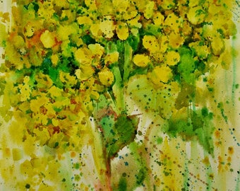 Floral Fine Art Watercolor Painting Floral abstraction - Original Watercolour Home Decor