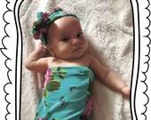 Aqua Floral Swaddle Sack, Swaddle, Cocoon, Sleep Sack, Swaddle, Newborn, Headband,  Cocoon swaddle, Cocoon sack, Newborn Photography