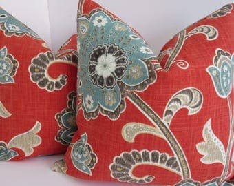 Braemore Ankara Scarlet Pillow Covers- Accent Pillow Covers- Red Blue Gray Tan Brown Ivory Pillow Covers - Tan Blue Pillows- Pillow Covers