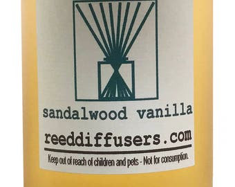 8 oz Sandalwood Vanilla Fragrance Reed Diffuser Oil Refill  - Made in the USA