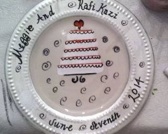 Hand Painted Personalized Wedding Plate