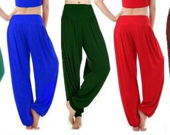 Women's  Ladies Plain Hareem Ali Baba Baggy Pants Full Length Trouser Leggings