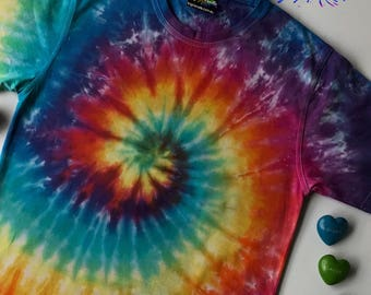Your new 100% cotton Rainbow Tie Dye t-shirt hippie, festival, rave, boho,  Handmade, Hand-dyed, made in Australia