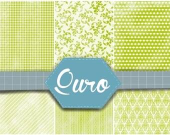 Digital paper, scrapbook digital paper, green themed digital paper