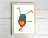 Circus Lion  Unframed Art Print Monkey Drawing Nursery Picture Animal Wall Art Childrens Decor Kids Bedroom.