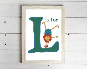 L is for Lion Alphabet Print - Unframed Art Print, Lion Drawing, Nursery Picture, Animal Wall Art, Children's Decor, Kid's Bedroom