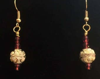 Etched Gold Balls and Pink Czech Glass Earrings