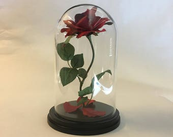 Beauty and the Beast Rose, Enchanted Rose, Rose in Glass Dome - 11""