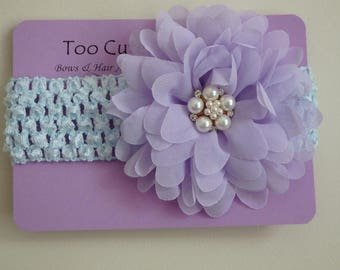 Blue and Purple Floral Headband with Pearl and Rhinestone Embellishment