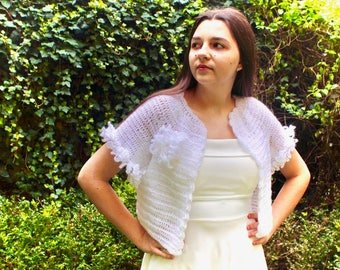 Wedding crochet bolero, shrug for the bride, wedding shawl DIANA