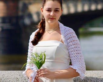 Crochet bridal bolero, wedding shrug Bella