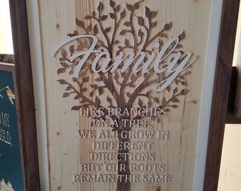 Carved wood Family Tree Roots Sign Layered Text
