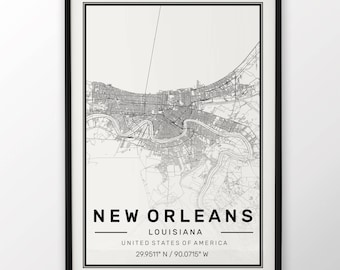 New Orleans City Map Print, Modern Contemporary poster in sizes 50x70 fit for Ikea frame All city available London, New york Paris Madrid