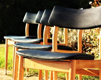 4 Fully Restored, Mid Century, Tasmanian Oak Dining Chairs by Gainsborough