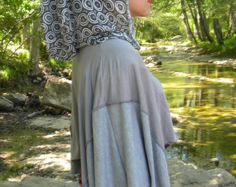Cape patchwork tunic grey hoodie with printed flower