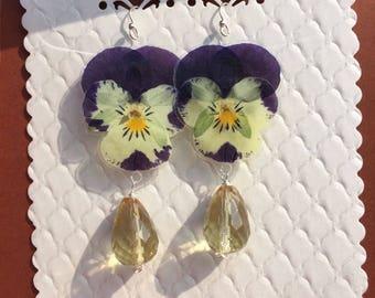 Genuine 925 Silver earrings lemon quartz/violas/real flowers pressed flower//birthday/spring/pressed flowers