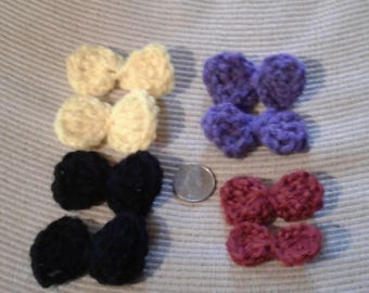 Small Hair Bows, Crocheted, assorted colors