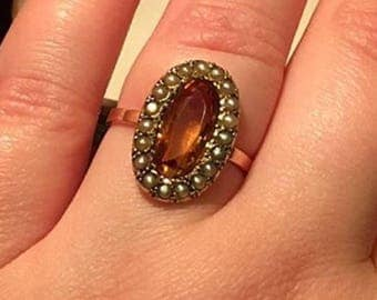 Victorian Cognac Citrine & Seed Pearl Ring