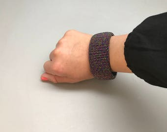 Purple handmade beaded bracelet