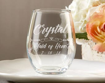 Personalized Stemless Wine Glasses Wedding - Custom Bridesmaid Wine Glasses - Stemless Wine Glass - Maid of Honor Gifts - Bridal Party Gifts