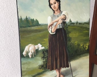 Young shepherdess stading