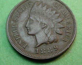 1889 Indian Head Cent Extra Fine + FREE Shipping In United States # ET217
