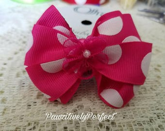 Pink and White Polka Dot Hair Bow with Pink Flower and Alligator Clip