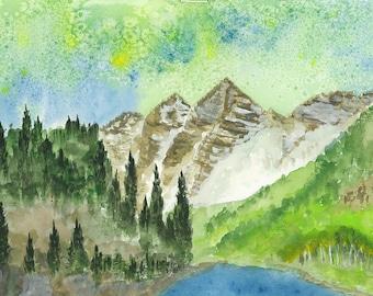 Maroon Bells Watercolor Painting
