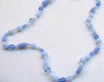 Classic Vintage MIRIAM HASKELL ~ Sea & Sky Blue Art Glass Beads