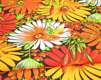 Pure Linen fabric by the yard, floral fabric yellow, red, orange, white, green flowers, linen tunic
