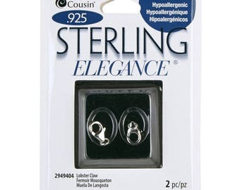 2 pc cousin sterling elegance Sterling Silver Lobster Claw 7 by 13mm Hypoallergenic