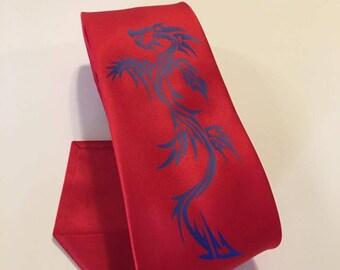 Blue Dragon on Red Necktie