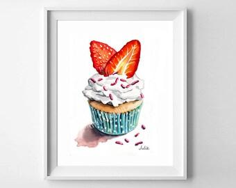 cupcake painting, dessert art, art print of my original watercolor painting