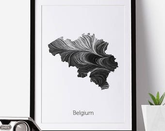 Belgium Print, Belgium Map, Belgium, Office Decor, City Map Prints, Map Artnew