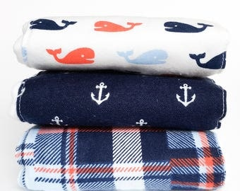 Flannel Cloth Diaper Burp Cloth - Set of 2 or 3 - Baby Boy
